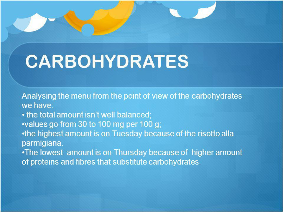 CARBOHYDRATES Analysing the menu from the point of view of the carbohydrates we have: the total amount isn't well balanced; values go from 30 to 100 m