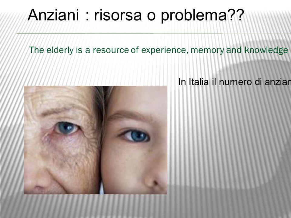 In Italia il numero di anziani è molto alto e questo rende più vecchio il nostro paese, ma non dobbiamo dimenticare che loro sono una preziosa risorsa di esperienza, memoria e conoscenza … Anziani : risorsa o problema .