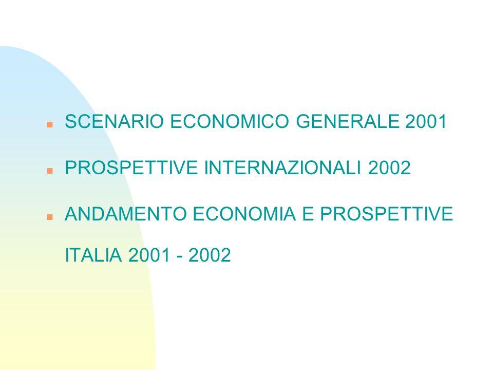 n SCENARIO ECONOMICO GENERALE 2001 n PROSPETTIVE INTERNAZIONALI 2002 n ANDAMENTO ECONOMIA E PROSPETTIVE ITALIA 2001 - 2002