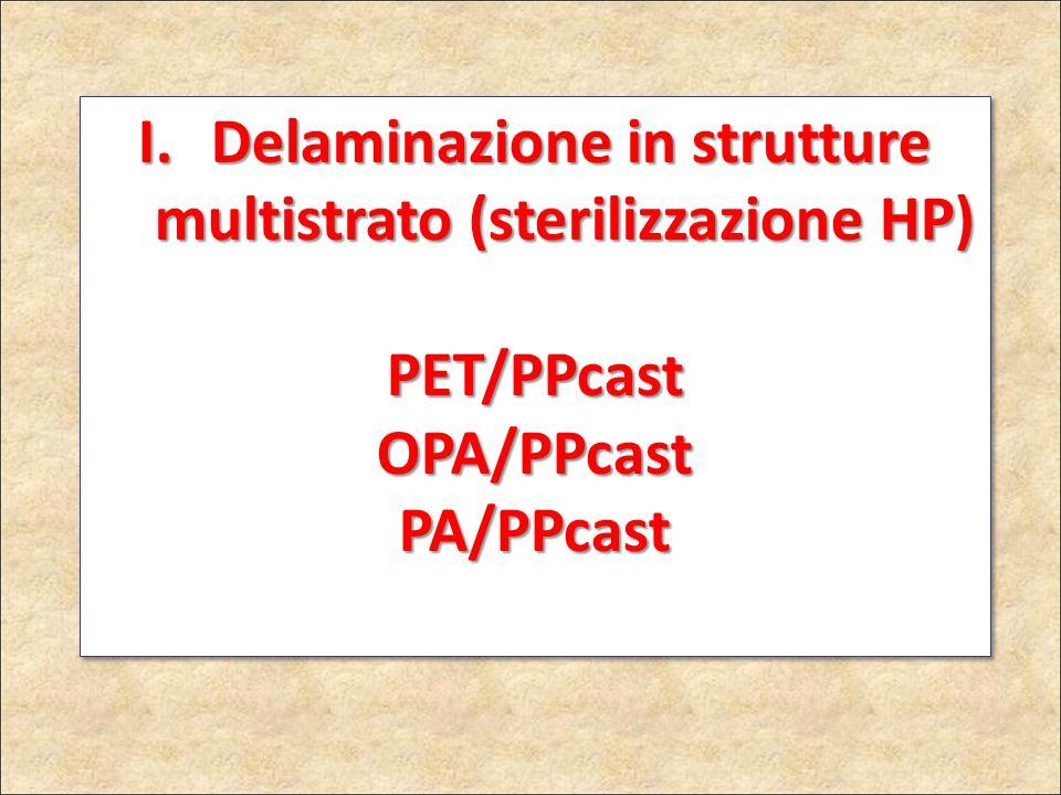 I. Delaminazione in strutture multistrato (sterilizzazione HP) PET/PPcastOPA/PPcastPA/PPcast PET/PPcastOPA/PPcastPA/PPcast