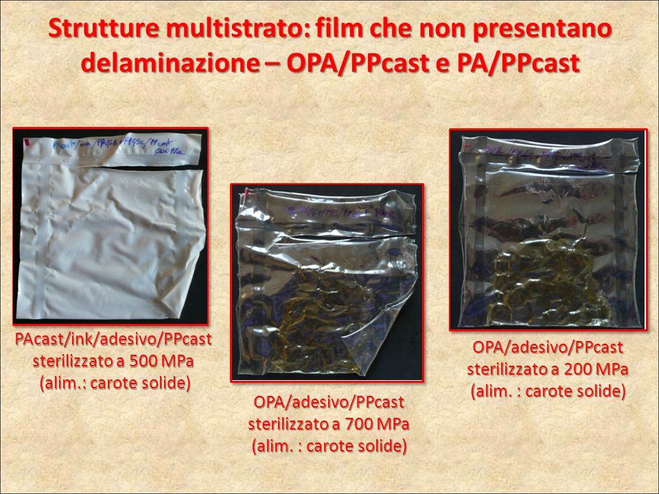 PAcast/ink/adesivo/PPcast sterilizzato a 500 MPa (alim.: carote solide) (alim.: carote solide) OPA/adesivo/PPcast sterilizzato a 700 MPa (alim. : caro