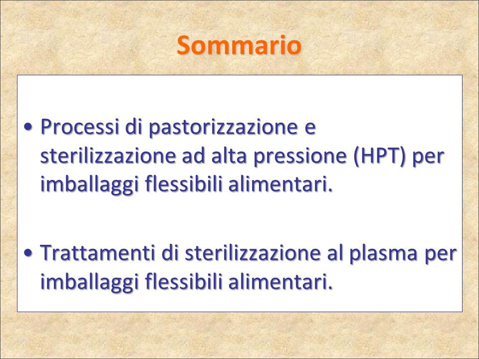 Sommario Processi di pastorizzazione e sterilizzazione ad alta pressione (HPT) per imballaggi flessibili alimentari.Processi di pastorizzazione e ster