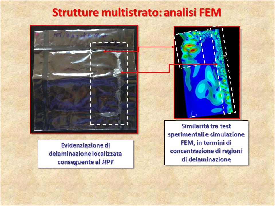 Similarità tra test sperimentali e simulazione FEM, in termini di concentrazione di regioni di delaminazione Evidenziazione di delaminazione localizza