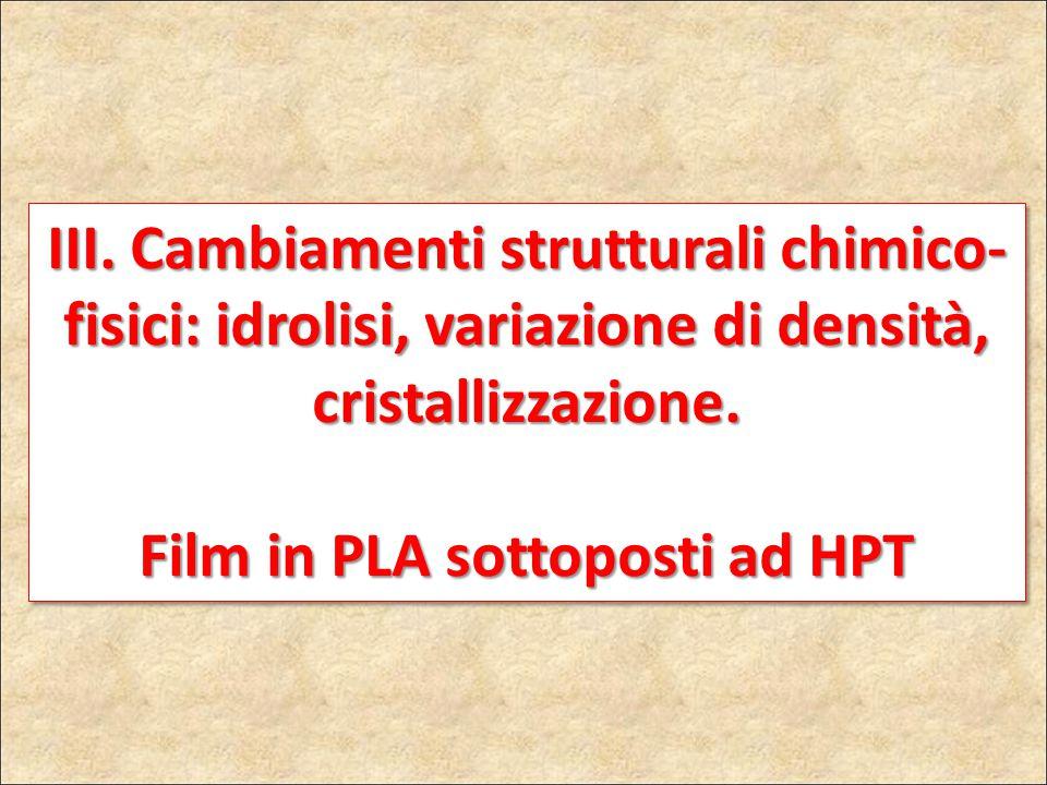 III. Cambiamenti strutturali chimico- fisici: idrolisi, variazione di densità, cristallizzazione. Film in PLA sottoposti ad HPT III. Cambiamenti strut