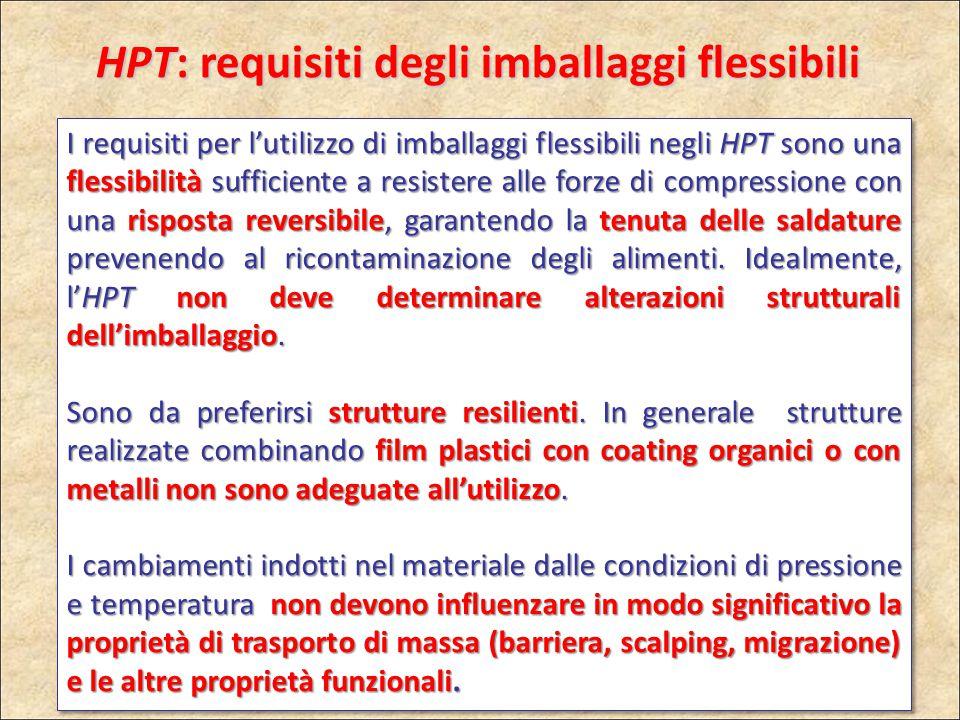HPT: requisiti degli imballaggi flessibili I requisiti per l'utilizzo di imballaggi flessibili negli HPT sono una flessibilità sufficiente a resistere