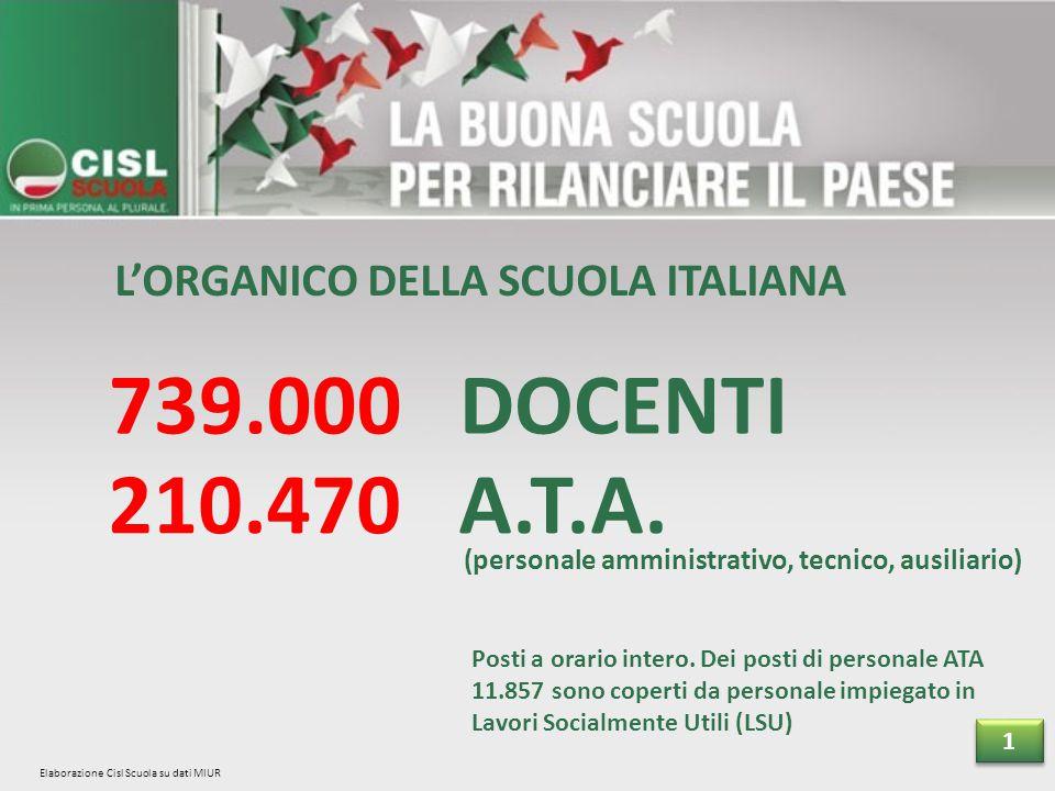 L'ORGANICO DELLA SCUOLA ITALIANA 739.000 DOCENTI 210.470 A.T.A.