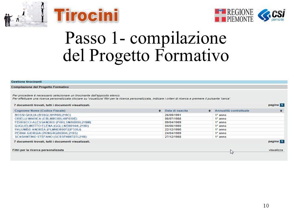 10 Passo 1- compilazione del Progetto Formativo