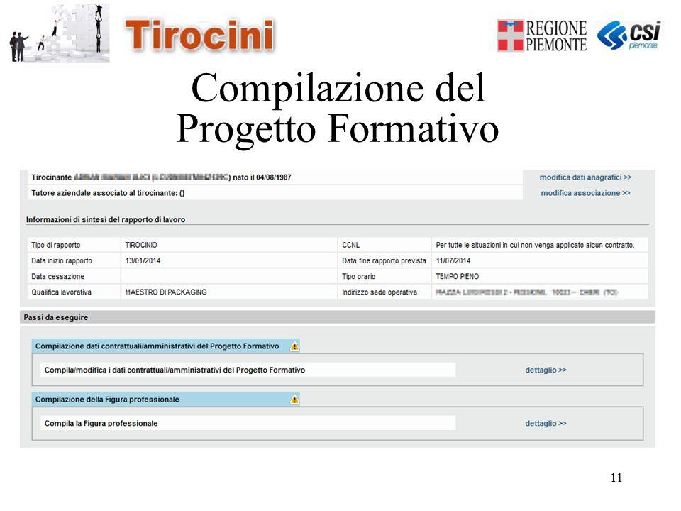 11 Compilazione del Progetto Formativo
