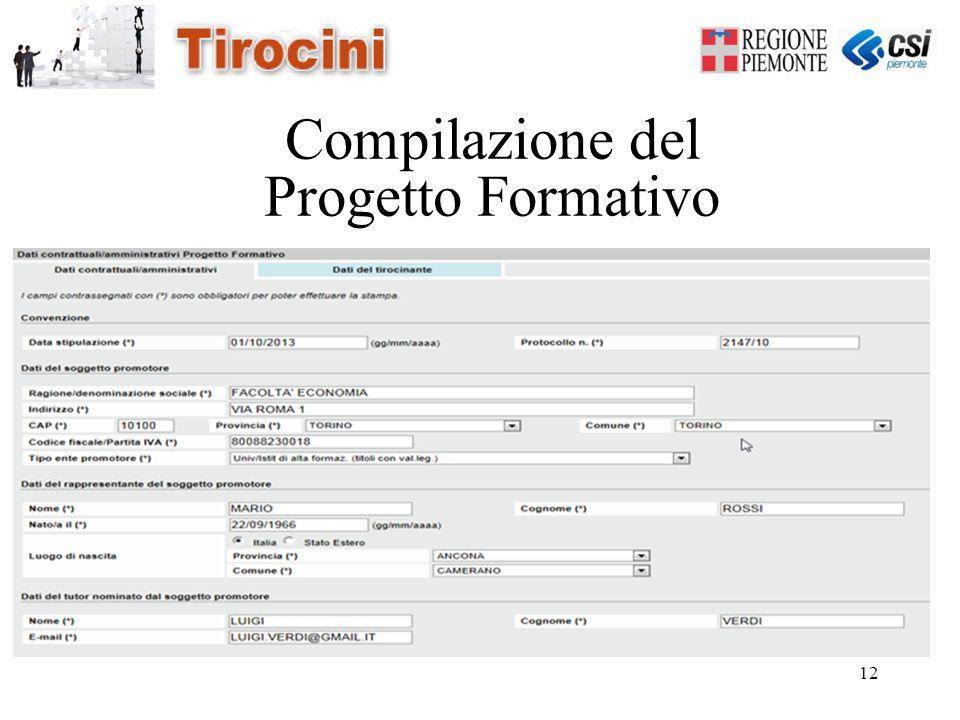 12 Compilazione del Progetto Formativo