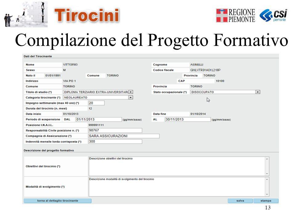 13 Compilazione del Progetto Formativo
