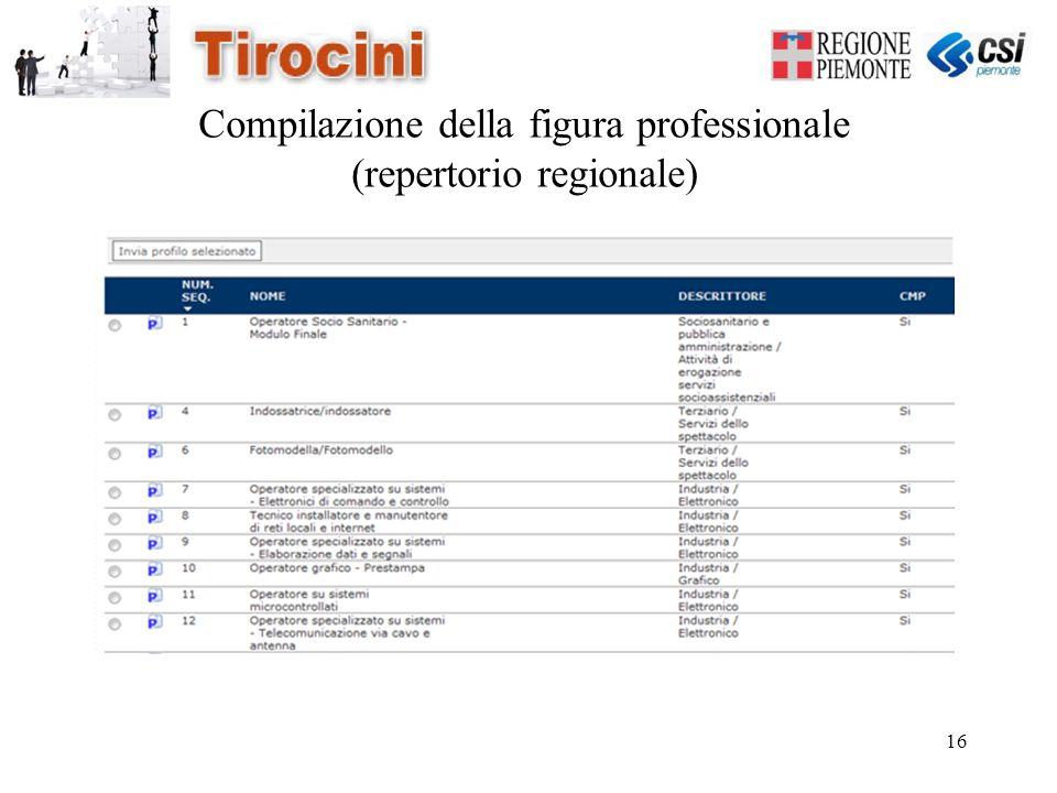 16 Compilazione della figura professionale (repertorio regionale)
