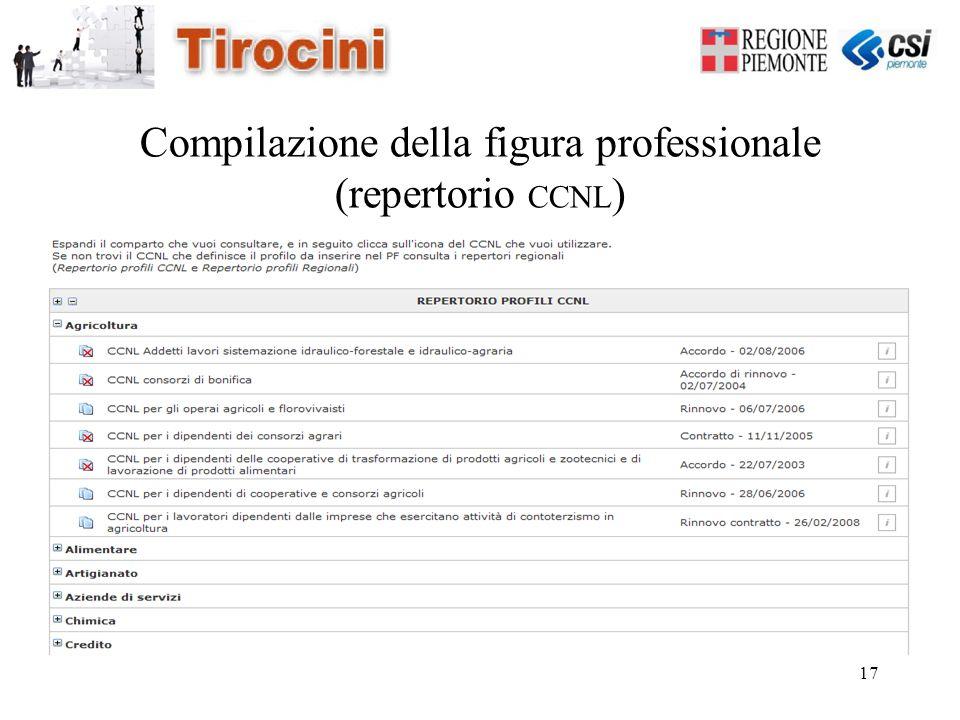 17 Compilazione della figura professionale (repertorio CCNL )
