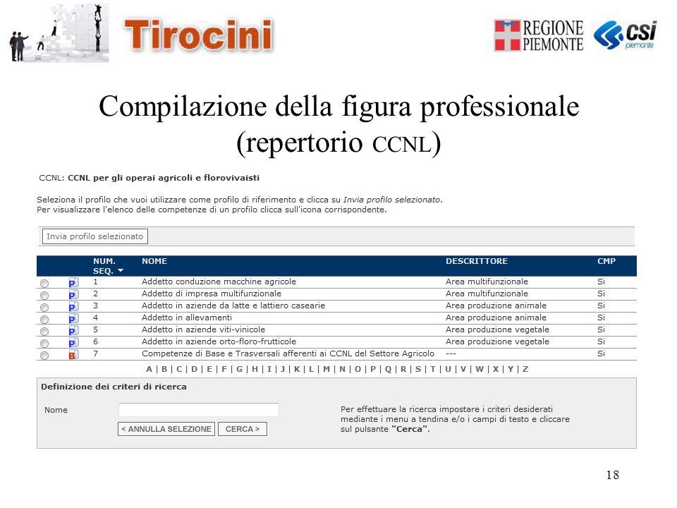 18 Compilazione della figura professionale (repertorio CCNL )