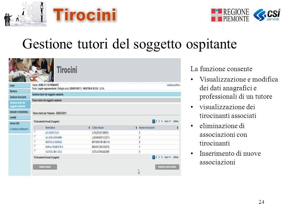 24 Gestione tutori del soggetto ospitante La funzione consente Visualizzazione e modifica dei dati anagrafici e professionali di un tutore visualizzaz