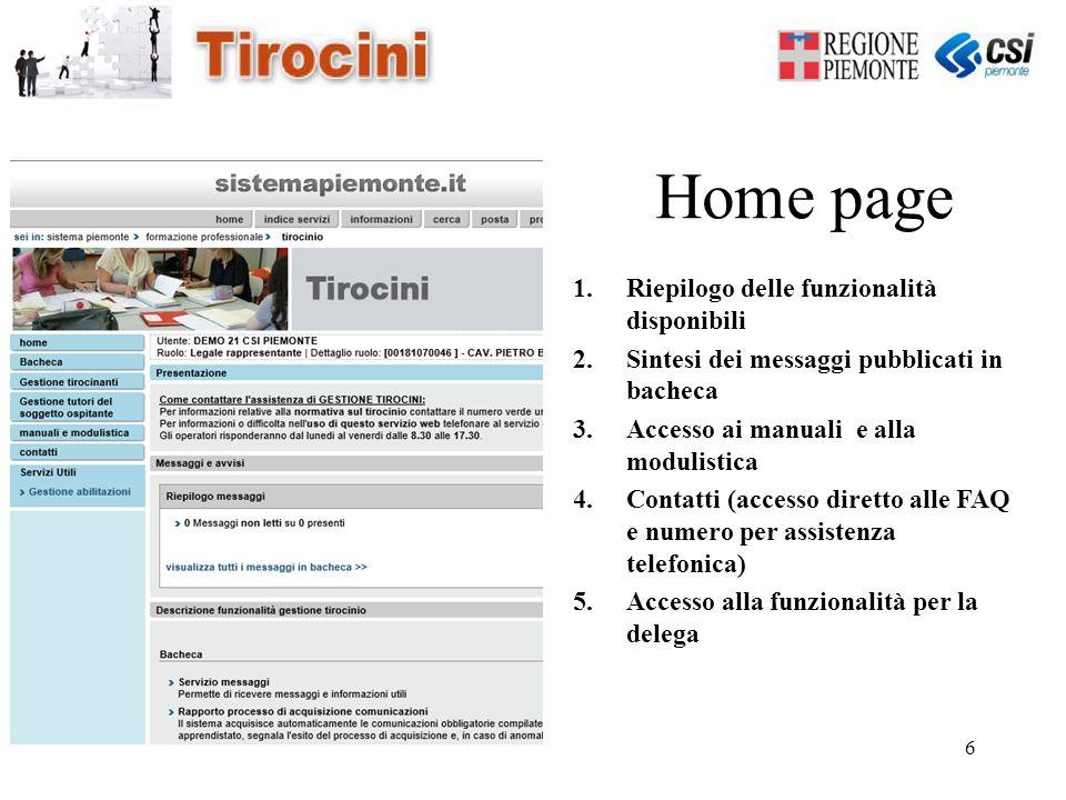6 Home page 1.Riepilogo delle funzionalità disponibili 2.Sintesi dei messaggi pubblicati in bacheca 3.Accesso ai manuali e alla modulistica 4.Contatti