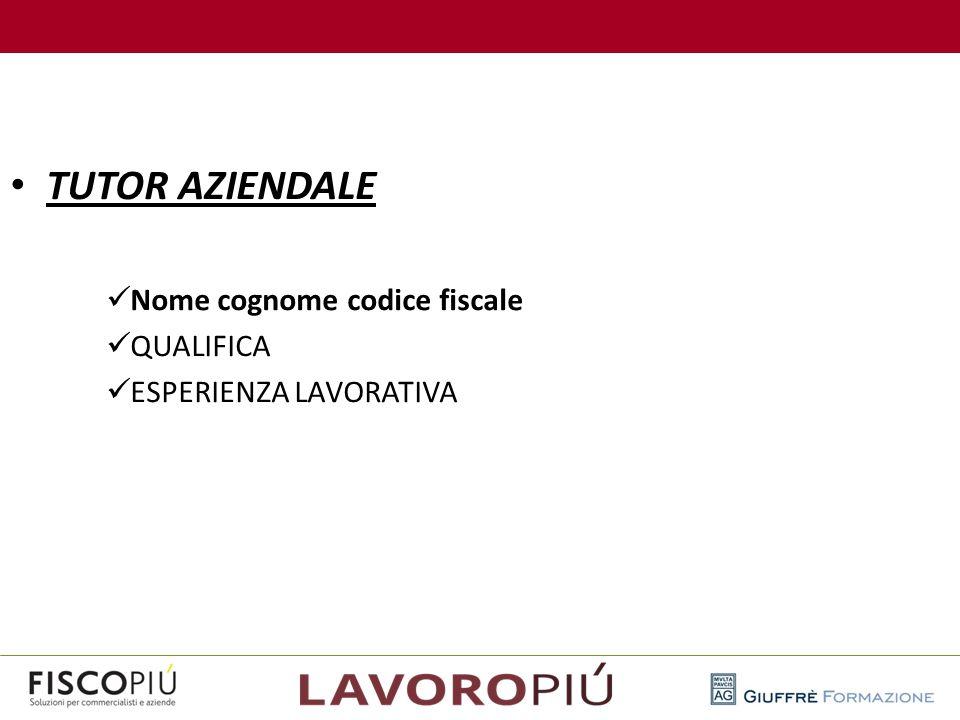 TUTOR AZIENDALE Nome cognome codice fiscale QUALIFICA ESPERIENZA LAVORATIVA