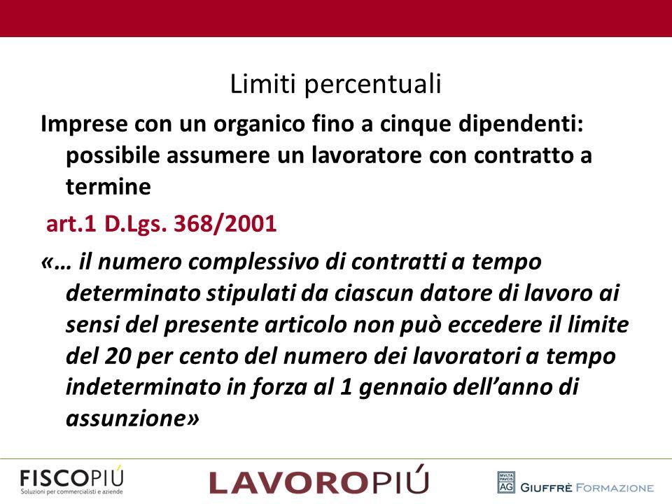 Limiti percentuali Imprese con un organico fino a cinque dipendenti: possibile assumere un lavoratore con contratto a termine art.1 D.Lgs. 368/2001 «…