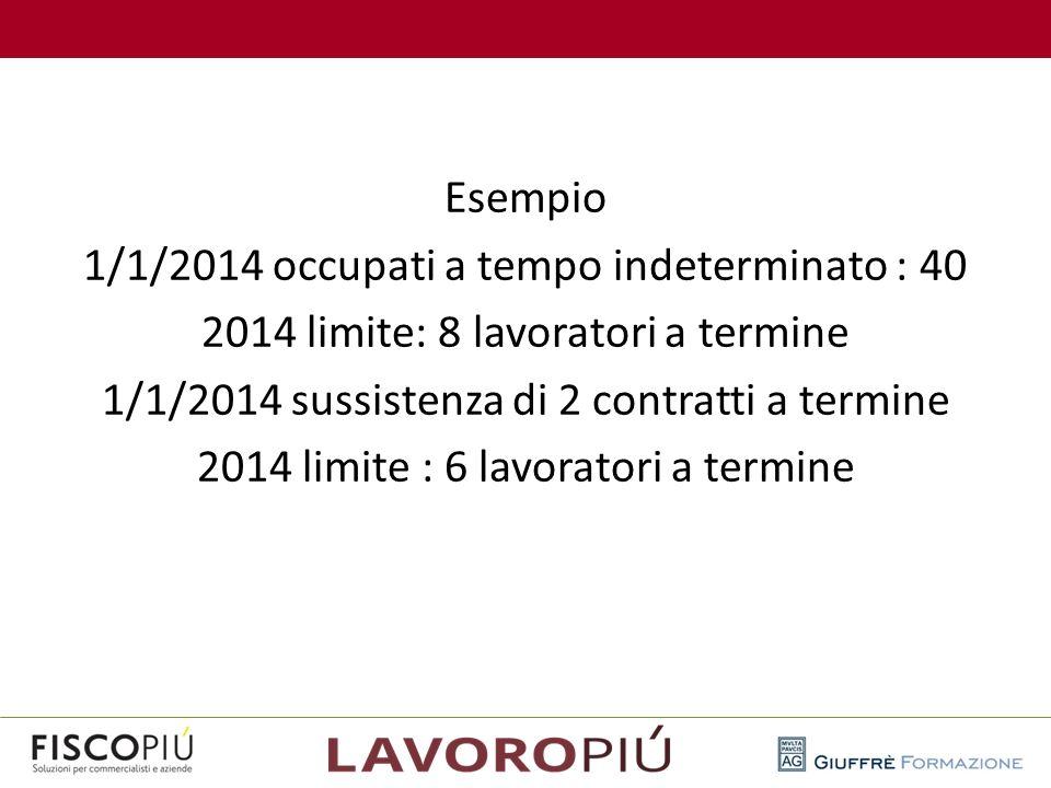 Esempio 1/1/2014 occupati a tempo indeterminato : 40 2014 limite: 8 lavoratori a termine 1/1/2014 sussistenza di 2 contratti a termine 2014 limite : 6