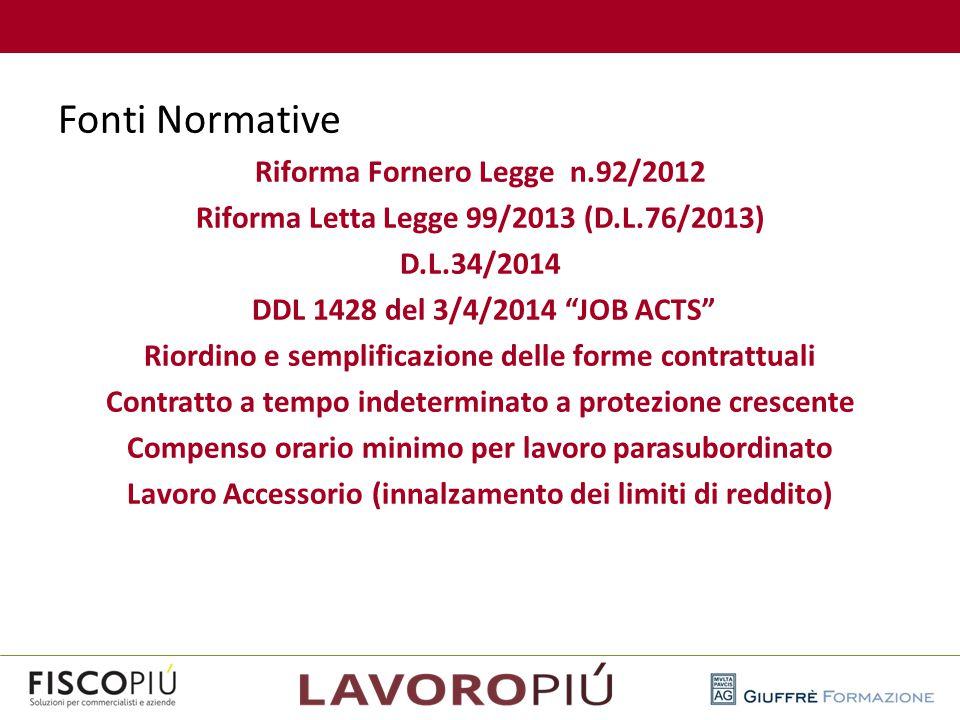 """Fonti Normative Riforma Fornero Legge n.92/2012 Riforma Letta Legge 99/2013 (D.L.76/2013) D.L.34/2014 DDL 1428 del 3/4/2014 """"JOB ACTS"""" Riordino e semp"""