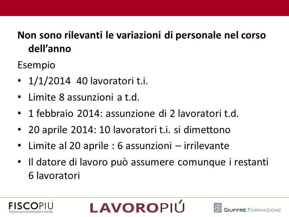 Non sono rilevanti le variazioni di personale nel corso dell'anno Esempio 1/1/2014 40 lavoratori t.i. Limite 8 assunzioni a t.d. 1 febbraio 2014: assu