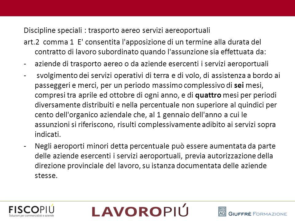 Discipline speciali : trasporto aereo servizi aereoportuali art.2 comma 1 E' consentita l'apposizione di un termine alla durata del contratto di lavor