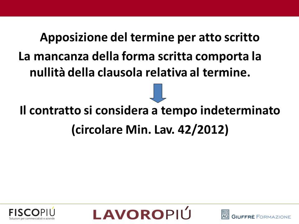 Apposizione del termine per atto scritto La mancanza della forma scritta comporta la nullità della clausola relativa al termine. Il contratto si consi