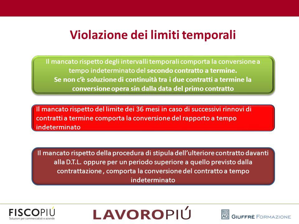 Violazione dei limiti temporali Il mancato rispetto degli intervalli temporali comporta la conversione a tempo indeterminato del secondo contratto a t