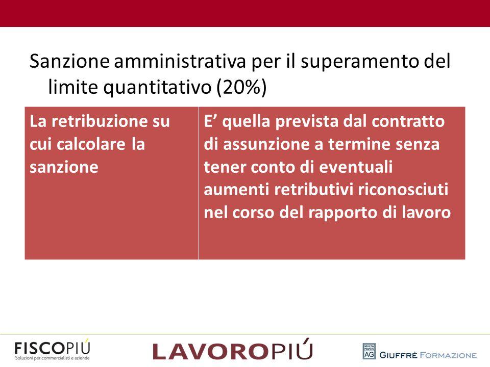 Sanzione amministrativa per il superamento del limite quantitativo (20%) La retribuzione su cui calcolare la sanzione E' quella prevista dal contratto