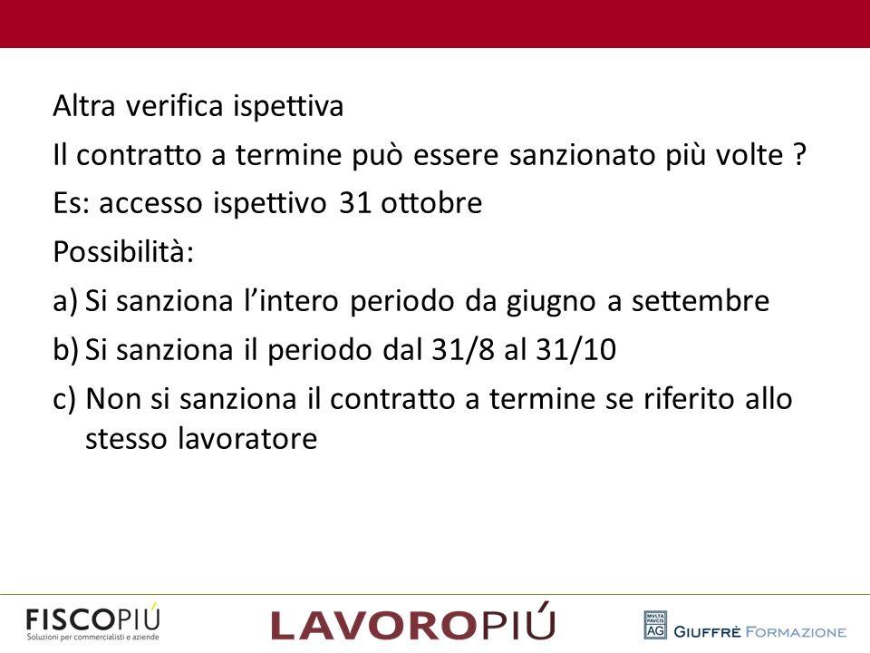 Altra verifica ispettiva Il contratto a termine può essere sanzionato più volte ? Es: accesso ispettivo 31 ottobre Possibilità: a)Si sanziona l'intero