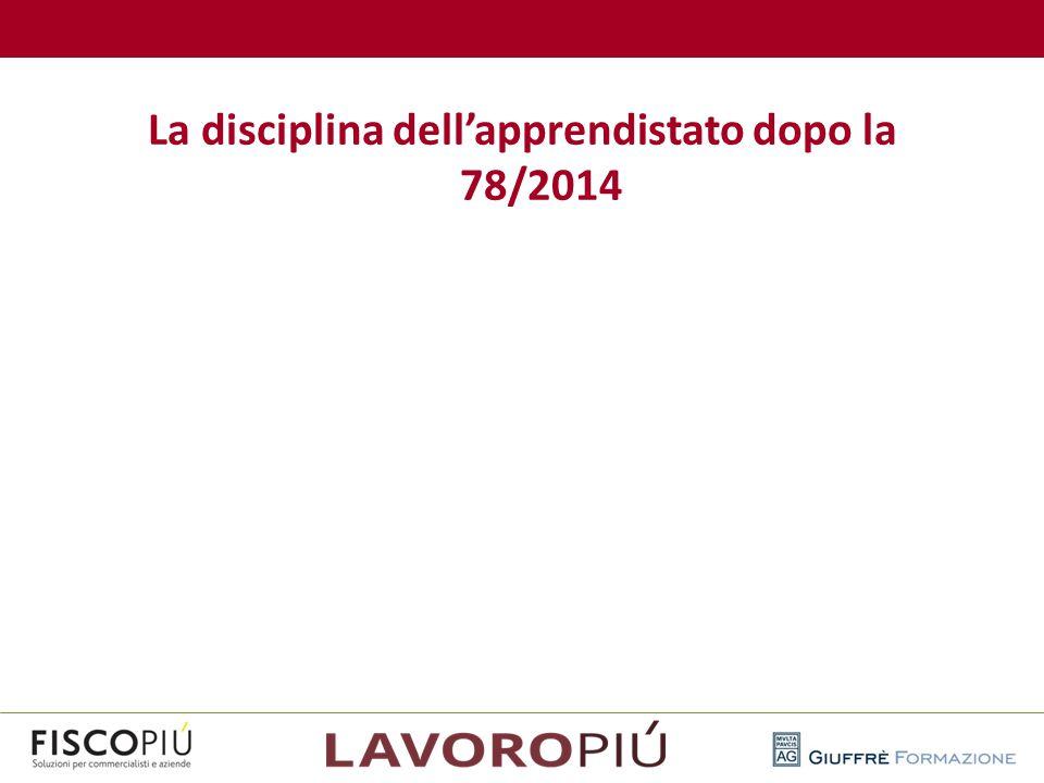 La disciplina dell'apprendistato dopo la 78/2014