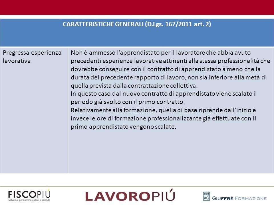 CARATTERISTICHE GENERALI (D.Lgs. 167/2011 art. 2) Pregressa esperienza lavorativa Non è ammesso l'apprendistato per il lavoratore che abbia avuto prec