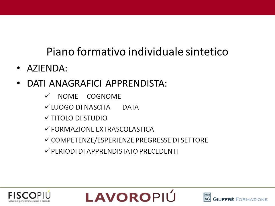 Piano formativo individuale sintetico AZIENDA: DATI ANAGRAFICI APPRENDISTA: NOME COGNOME LUOGO DI NASCITA DATA TITOLO DI STUDIO FORMAZIONE EXTRASCOLAS