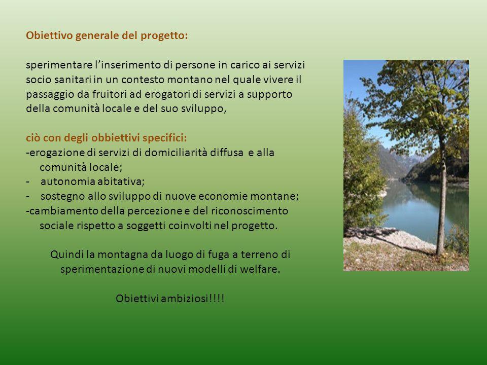 Obiettivo generale del progetto: sperimentare l'inserimento di persone in carico ai servizi socio sanitari in un contesto montano nel quale vivere il