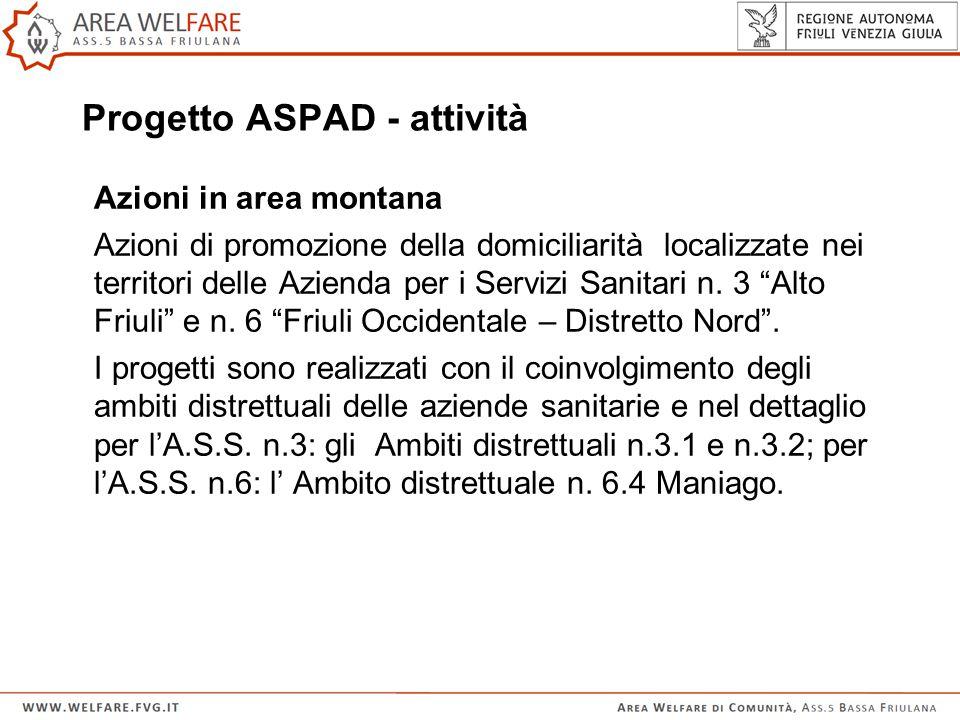 Progetto ASPAD - attività Azioni in area montana Azioni di promozione della domiciliarità localizzate nei territori delle Azienda per i Servizi Sanitari n.