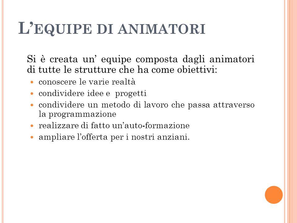 L' EQUIPE DI ANIMATORI Si è creata un' equipe composta dagli animatori di tutte le strutture che ha come obiettivi: conoscere le varie realtà condivid