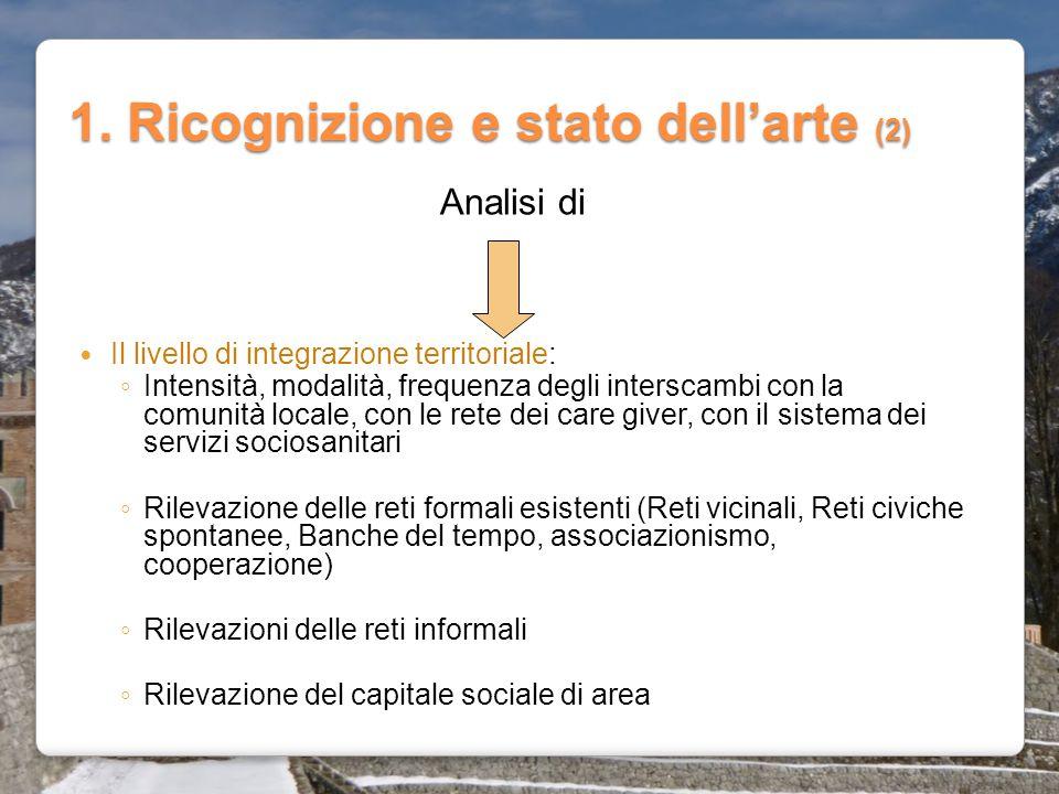 1. Ricognizione e stato dell'arte (2) Il livello di integrazione territoriale: ◦ Intensità, modalità, frequenza degli interscambi con la comunità loca