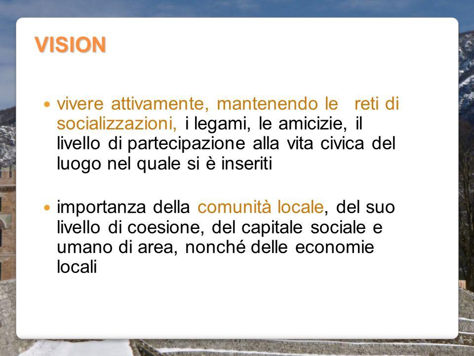 VISION vivere attivamente, mantenendo le reti di socializzazioni, i legami, le amicizie, il livello di partecipazione alla vita civica del luogo nel q