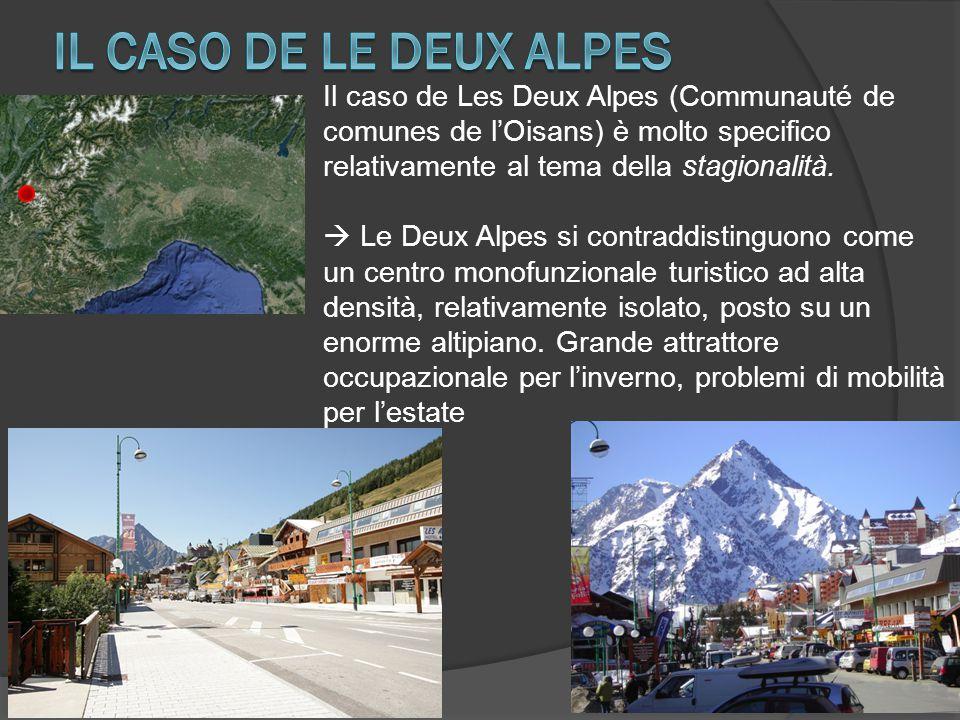 Il caso de Les Deux Alpes (Communauté de comunes de l'Oisans) è molto specifico relativamente al tema della stagionalità.  Le Deux Alpes si contraddi