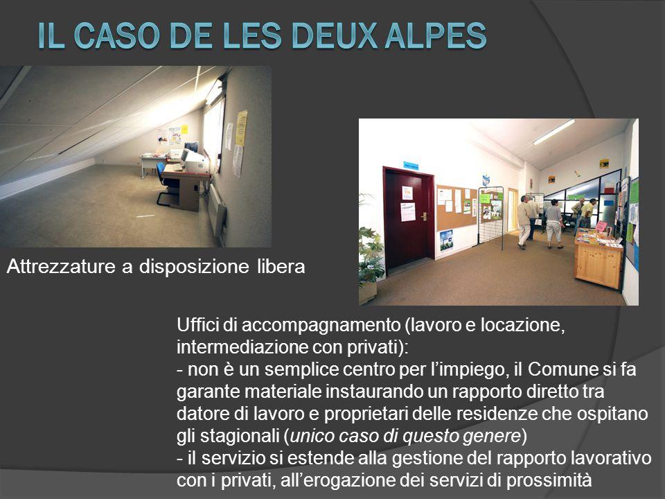 Attrezzature a disposizione libera Uffici di accompagnamento (lavoro e locazione, intermediazione con privati): - non è un semplice centro per l'impie