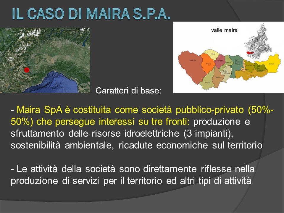 Caratteri di base: - Maira SpA è costituita come società pubblico-privato (50%- 50%) che persegue interessi su tre fronti: produzione e sfruttamento d