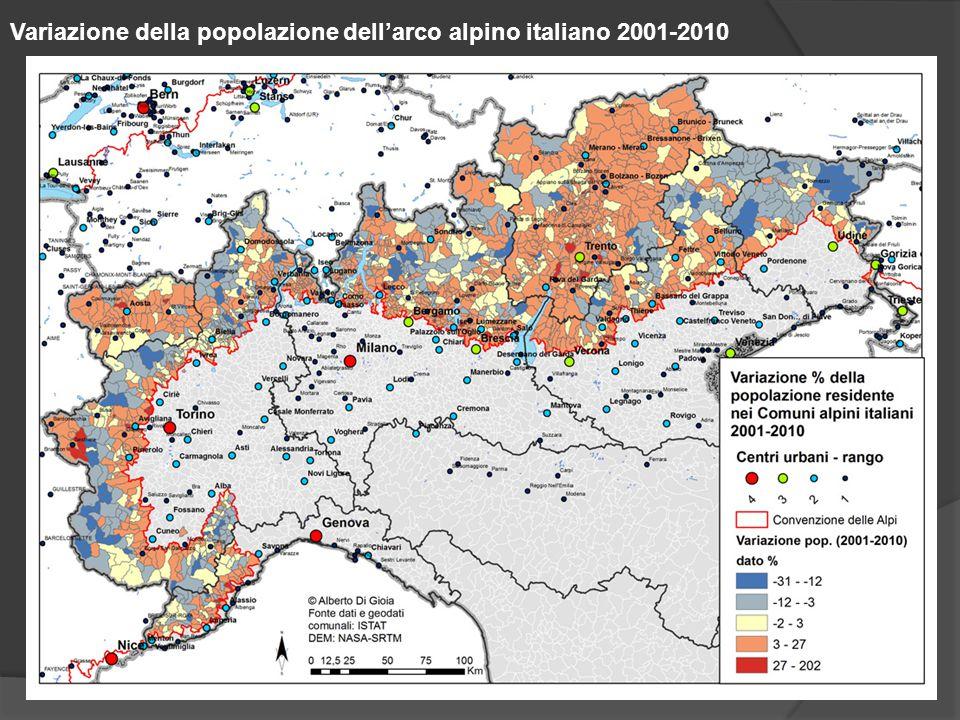 Variazione della popolazione dell'arco alpino italiano 2001-2010
