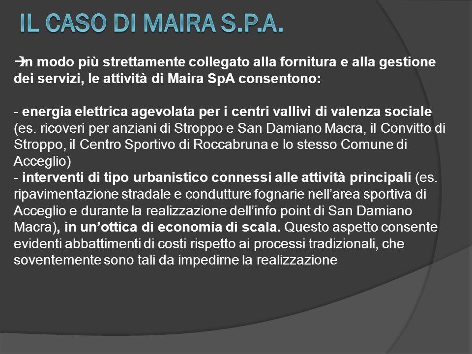  In modo più strettamente collegato alla fornitura e alla gestione dei servizi, le attività di Maira SpA consentono: - energia elettrica agevolata pe