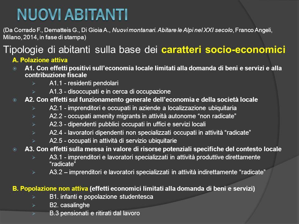 A. Polazione attiva  A1. Con effetti positivi sull'economia locale limitati alla domanda di beni e servizi e alla contribuzione fiscale  A1.1 - resi