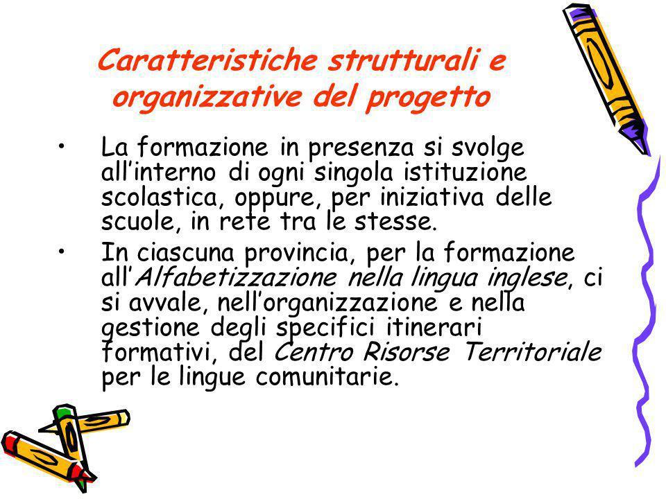Caratteristiche strutturali e organizzative del progetto La formazione in presenza si svolge all'interno di ogni singola istituzione scolastica, oppure, per iniziativa delle scuole, in rete tra le stesse.