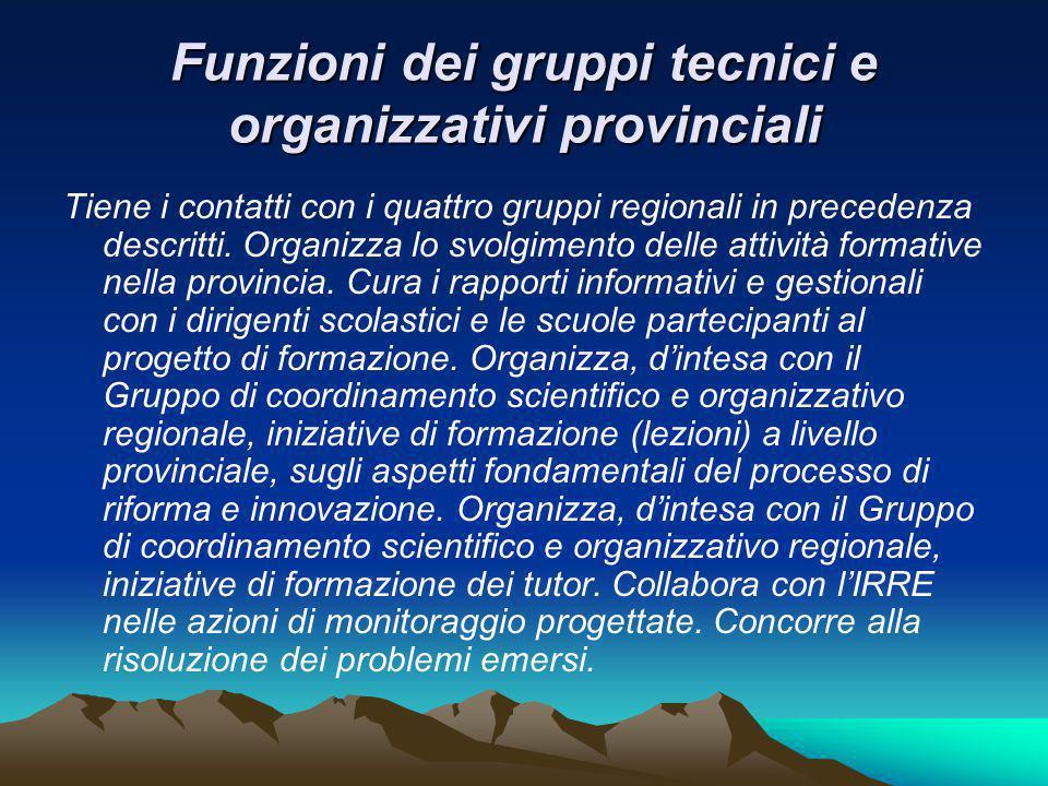 Funzioni dei gruppi tecnici e organizzativi provinciali Tiene i contatti con i quattro gruppi regionali in precedenza descritti.