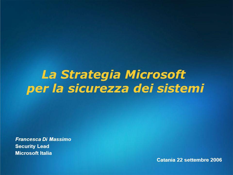 Francesca Di Massimo Security Lead Microsoft Italia Catania 22 settembre 2006 La Strategia Microsoft per la sicurezza dei sistemi