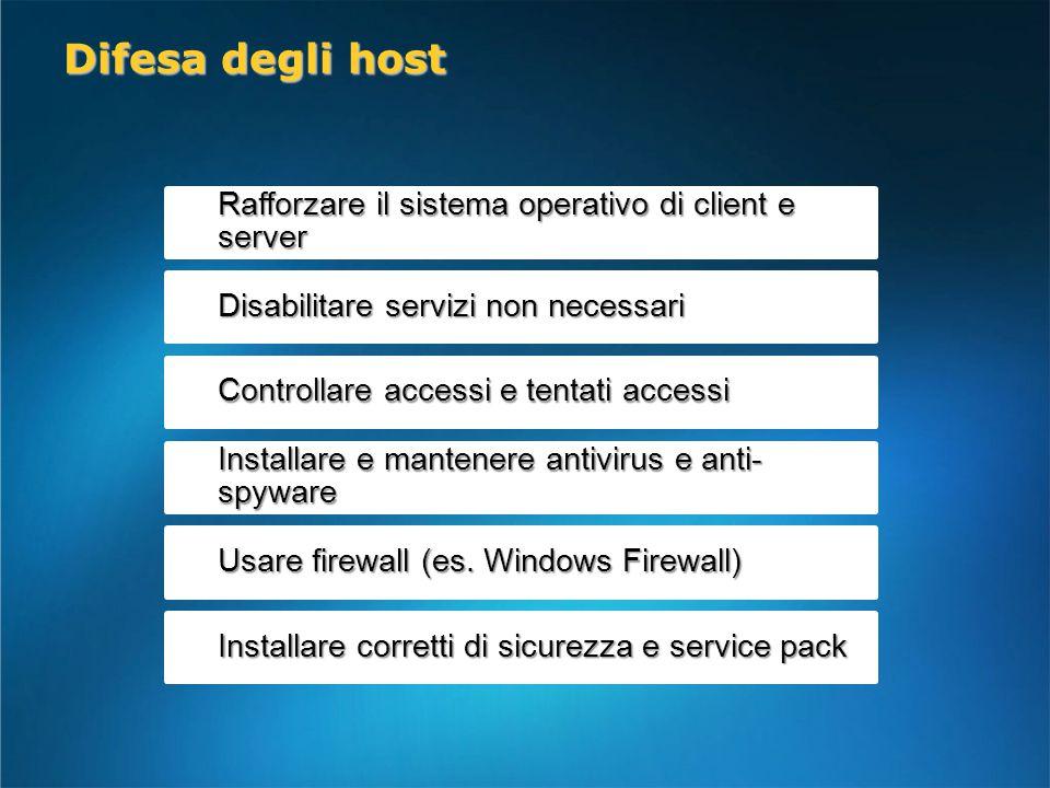 Rafforzare il sistema operativo di client e server Disabilitare servizi non necessari Controllare accessi e tentati accessi Installare e mantenere antivirus e anti- spyware Usare firewall (es.