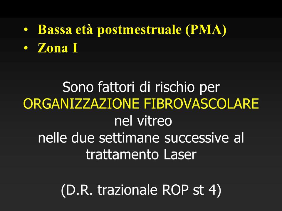 Sono fattori di rischio per ORGANIZZAZIONE FIBROVASCOLARE nel vitreo nelle due settimane successive al trattamento Laser (D.R. trazionale ROP st 4) Ba