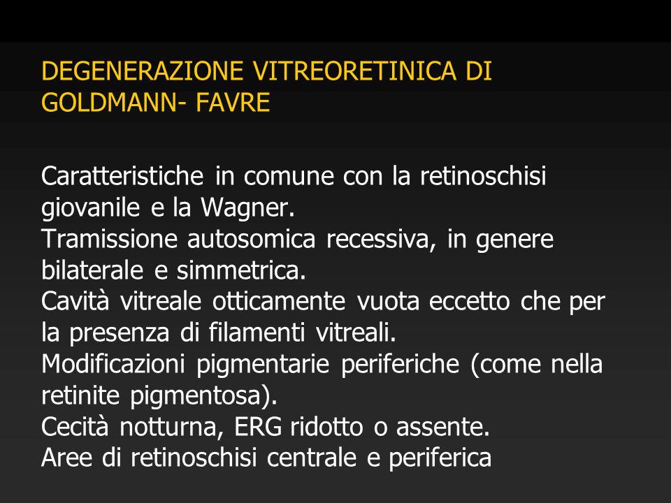 DEGENERAZIONE VITREORETINICA DI GOLDMANN- FAVRE Caratteristiche in comune con la retinoschisi giovanile e la Wagner. Tramissione autosomica recessiva,