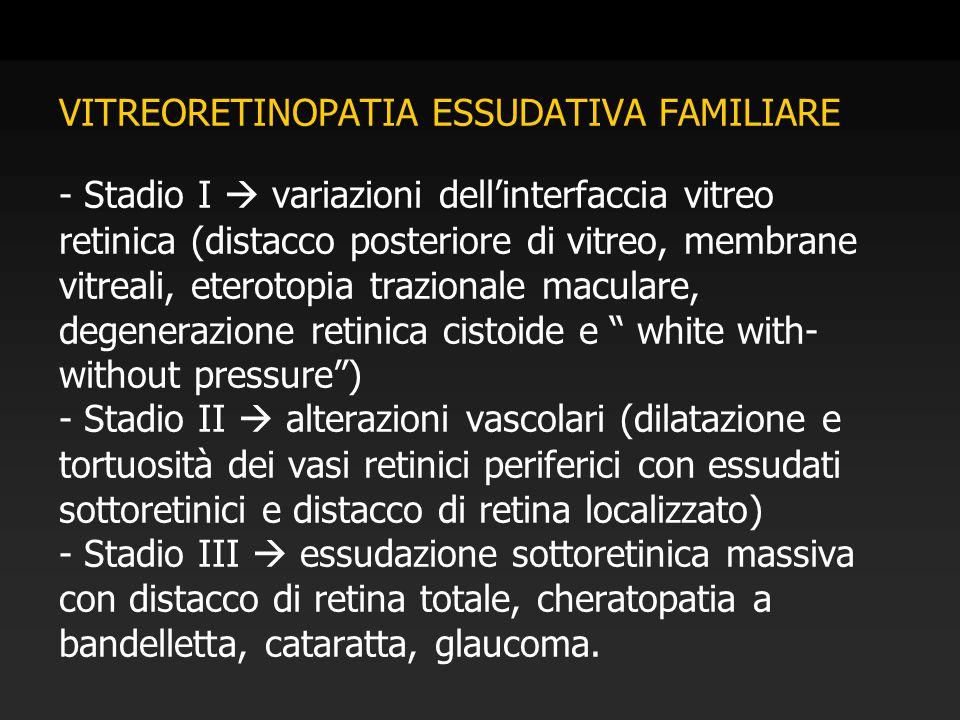 VITREORETINOPATIA ESSUDATIVA FAMILIARE - Stadio I  variazioni dell'interfaccia vitreo retinica (distacco posteriore di vitreo, membrane vitreali, ete